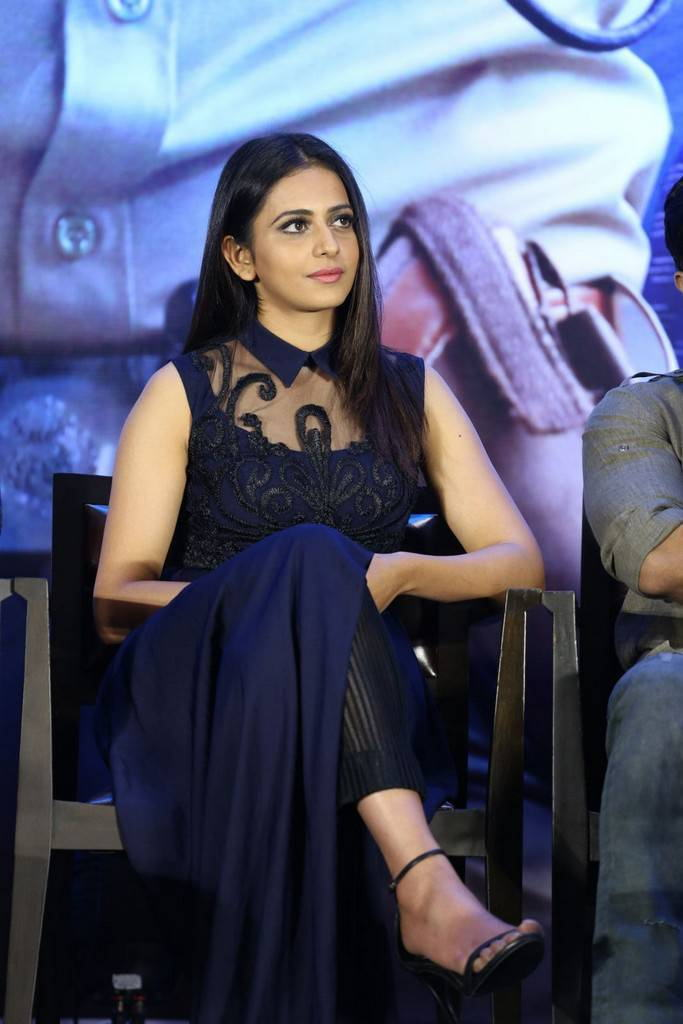 Rakul Preet Singh At  Movie Press Meet In Blue Dress