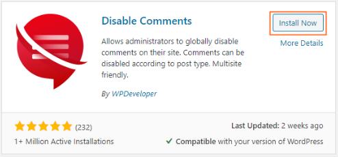 instal plugin disable comment