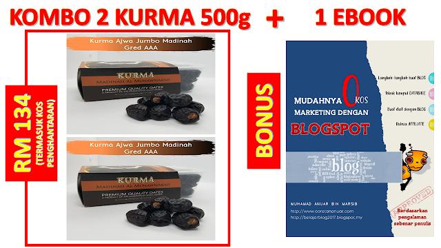 Bonus Untuk Pembelian Set Kombo 2 Kurma 500g Ajwa Jumbo Terbaik Madinah Gred AAA