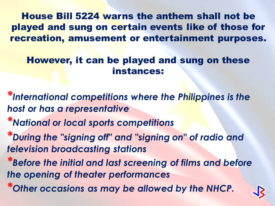 "The way you sing the national anthem may not be a big deal to you in the past but this time you need to do it right or you might end up paying a fine up to P100,000. House Bill 5224 (HB 5224) or the ""Flag and Heraldic Code of the Philippines."" has been approved by The House of Representatives  on third and final reading  updating the rules on the rendition of the Philippine National Anthem. The House of Representatives said HB 5224 ""updates, among others, the rules on the rendition of the national anthem, expressly repealing Republic Act No. 8491 or the ""Flag and Heraldic Code of the Philippines."" HB 5224 urges all individuals to be committed in memorizing   the national anthem by heart. According to the Bill, the rendition of the national anthem shall be in accordance to the composition of Julian Felipe. The National Historical Commission of the Philippines (NHCP), in coordination with proper agencies, ""shall disseminate an official music score sheet that reflects the manner in which the national anthem shall be played or sung"", thus, making the rendition standard.  The anthem must be sung in Filipino. However, rendition of the anthem  in other languages and dialects must be approved by NHCP.  House Bill 5224 warns the anthem shall not be played and sung on certain events like of those for recreation, amusement or entertainment purposes.  However, it can be played and sung on these instances: International competitions where the Philippines is the host or has a representative National or local sports competitions During the ""signing off"" and ""signing on"" of radio and television broadcasting stations Before the initial and last screening of films and before the opening of theater performances Other occasions as may be allowed by the NHCP.  HB 5224 will impose penalties should the provisions not be followed, among them a fine of not less than P50,000 but not exceeding P100,000. Source: CNN Read More:            How to register online:  1. Go to www.philhealth.gov.ph  2. Fill-out the needed information correctly.   3. You will then receive a confirmation e-mail and your log-in password. Click the link provided in the e-mail and log-in using your details.   4. After clicking the link, you will get a notification that your account is activated and you can now log-in to your Philhealth account.  5.  On log-in, you may need to enter an answer to a security question. It could be  any one of the three answers you provided earlier.   6. Congratulations! You successfully created and activated your Philhealth account.  You can now access your Philhealth members profile.  You can check the contributions you made  as well.  Should you find any error or discrepancies in your MDR, you may email Philhealth at actioncenter@philhealth.gov.ph     Once you are already registered, you can now get your Philhealth ID. Visit the nearest Philhealth office in your area and ask for the Philhealth Member Registration Form or PMRF.  Fill-out the form and submit it. In a few minutes, you can claim your printed Philhealth ID.  For premium payments, you can pay online through these Electronic Payment Facilities:  OneHUB (Unionbank Of The Philippines) Expresslink (Bank Of The Philippine Islands) Citiconnect (Citibank) Digibanker (Security Bank) Or via e-Gov (Bancnet) Asia United Bank China Banking Corporation CTBC Bank (Philippines) Corporation Development Bank of the Philippines East West Banking Corporation Metropolitan Trust & Bank Company Philippine National Bank Philippine Veterans Bank RCBC Savings Bank  For OFWs, you can pay your premium contributions through these accredited  collecting agents only:   Overseas Collections Over-the-counter collection system Bank Of Commerce Development Bank Of The Philippines IRemit, Inc. Landbank Of The Philippines Ventaja International Corporation  *Beware of unauthorized collecting agents issuing fake Philheath Official receipts. Visit the nearest Philhealth office in your area and ask for the Philhealth Member Registration Form or PMRF.  Fill-out the form and submit it. In a few minutes, you can claim your printed Philhealth ID.  Overseas Workers Welfare Organization (OWWA)  Administrator hans leo Cacdac has disclosed that OWWA board of trustees  has recently approved a resolution allotting financial aid for Overseas Filipino Workers (OFW), who were affected by the ongoing clash between the government forces and the Maute terror group in Marawi City.   The approved financial aid amounting to P100 million will be distributed by the agency to the affected OFW families.     According to Admin Hans Cacdac, the calamity component involves cash assistance of P3,000 for active members and P1,000 members who are not active.   OWWA Region 10 office is already in the process of determining the number of  qualified beneficiaries for the cash assistance.     ""Our Region 10 director is on the ground in Iligan and Cagayan de Oro, determining the amount to be given to the beneficiaries. Distribution will happen in the coming week,"" Cacdac said.   The Department of Labor and Employment (DOLE), for its part,  earlier said that it will provide livelihood aid to  the displaced workers due to the crisis.  Marawi residents, including OFW families had voluntarily evacuated their homes in area since last week due to the rising tension. Most of them went to the nearby areas like Iligan and Cagayan de Oro City.  Their villages had been under Maute terror and they need to be somewhere safe.  President  Rodrigo Duterte already declared martial law in  the entire Mindanao  ordering the Armed Forces of the Philippines (AFP) and the Philippine National Police (PNP) to intensify counter offensives against the ISIS-inspired group.  Meanwhile, Department of Social Welfare and Development opened various evacuation centers in Mindanao following the exodus of the residents in Marawi City. According to DSWD Sec. Judy Taguiwalo, they have  food packs and non-food items on standby for distribution for affected residents from Marawi City.  DSWD assures to keep the safety of every residents in the area especially the women, children and the elderly.  Evacuation Center  Location  Buruun School of Fisheries  Iligan City  Maria Cristina Gymnasium  Iligan City  Tomas Cabili Gymnasium  Iligan City  Iligan School of Fisheries Gymnasium  Iligan City  MSU-IIT CASS Building  Iligan City  Lanao del Sur Provincial Capitol  Marawi City  Gomampong Ali's Residents  Baloi, Lanao del Sur  Saguiaran Municipal Hall  Saguiaran, Lanao del Sur  People's Plaza  Saguiaran, Lanao del Sur  Old Madrasa  Saguiaran, Lanao del Sur  Old Masjid  Saguiaran, Lanao del Sur  BFP Office  Saguiaran, Lanao del Sur  DepEd Kinder Room  Saguiaran, Lanao del Sur  Source: Manila Bulletin Overseas Workers Welfare Organization (OWWA) Administrator hans leo Cacdac has disclosed that OWWA board of trustees has recently approved a resolution allotting financial aid for Overseas Filipino Workers (OFW), who were affected by the ongoing clash between the government forces and the Maute terror group in Marawi City. The approved financial aid amounting to P100 million will be distributed by the agency to the affected OFW families.The biggest challenge to returning OFWs who lost their jobs from hostilities or distressful situations abroad is how to sustain the needs of their family now that they have lost their jobs. OWWA is now ready to help them start over with programs suited to help displaced OFWs.  Ms.Rosalina B. Casuga is a worker from Malaysia for six months. She is a returnee from San Carlos Heights, Baguio City. She applied under the Balik Pinas Balik Hanap Buhay Program at OWWA CAR and received her starter kits livelihood assistance on June 2, 2017.  The program is a package of livelihood support to returning OFW's who are either displaced by hostilities, distressed workers or other distressful situations. The aim is to help the returning OFWs  by providing livelihood that will generate everyday income for the family.  The OWWA ""Balik Pinas! Balik Hanapbuhay!"" Program is a non-cash livelihood support/assistance intended to provide immediate relief to returning member-OFWs who were displaced from their jobs due to wars/political conflicts in host countries, or policy reforms, controls and changes by the host government; or were victims of illegal recruitment and/or human trafficking or other distressful situations.  It is a package of livelihood assistance amounting to Ten Thousand Pesos (Php 10,000.00) maximum consisting of techno-skills and/or entrepreneurship trainings, starter kits/goods and/or such other services that will enable beneficiaries to quickly start a livelihood undertaking through self/wage employment.  The program aims to enable the beneficiaries to be multi-skilled through access to training services by training institutions like TESDA, DTI, and NGOs. It also equips the beneficiaries with skills that are highly in demand in the local labor market and enables them to plan, set-up, start and operate a livelihood undertaking by providing them with ready-to-go rollout self-employment package of services, consisting of short-duration trainings, start-up kits/goods business counseling and technical and marketing assistance.  To avail of the livelihood assistance and livelihood starter kit from OWWA you can contact the following:  OWWA Main Ground Floor, Rm 101, OWWA Center  7th St. corner F. B. Harrison St., Pasay City  Telephone Numbers: +632 891 7601 to 24  Hotline: +632 551-1560; +632 551-6641  E-mail Address: rmd@owwa.gov.ph   NATIONAL REINTEGRATION CENTER FOR OFWs  Ground Floor, Blas F. Ople Development Center (Old OWWA Building)  Corner Solana and Victoria Streets  Intramuros, Manila  Telephone Numbers: 527-6184/526-2633/526-2392  E-mail Address: nrcoreintegration@gmail.com   BUREAU OF WORKERS WITH SPECIAL CONCERNS  9th Floor, Antonino Bldg.  J. Bocobo St. cor. T. M. Kalaw Ave.  Ermita, Manila  Tel. No.: 404-3336  Fax No.: 527-5858  Email: mail@bwsc.dole.gov.ph  Or visit any OWWA Regional Offices near you. Claiming SSS Disability benefits seems easy. Just fill-out and submit the needed documents and Voila!, You got your benefit.But how is the actual experience  in claiming it really like?An OFW on vacation tried to apply for the disability benefit of her brother shared the actual experience she had. As she described it, it was like ""passing through a needle eye.""  ©2017 THOUGHTSKOTO www.jbsolis.com SEARCH JBSOLIS, TYPE KEYWORDS and TITLE OF ARTICLE at the box below"