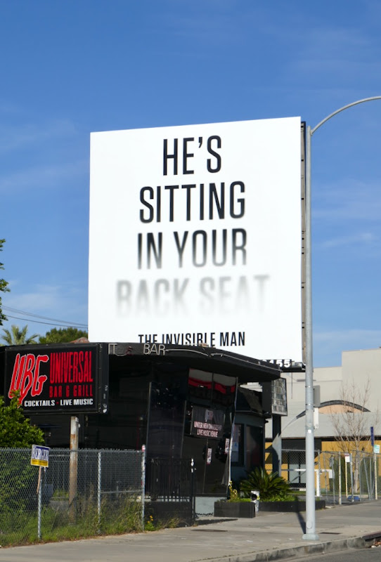 Invisible Man sitting in your back seat billboard