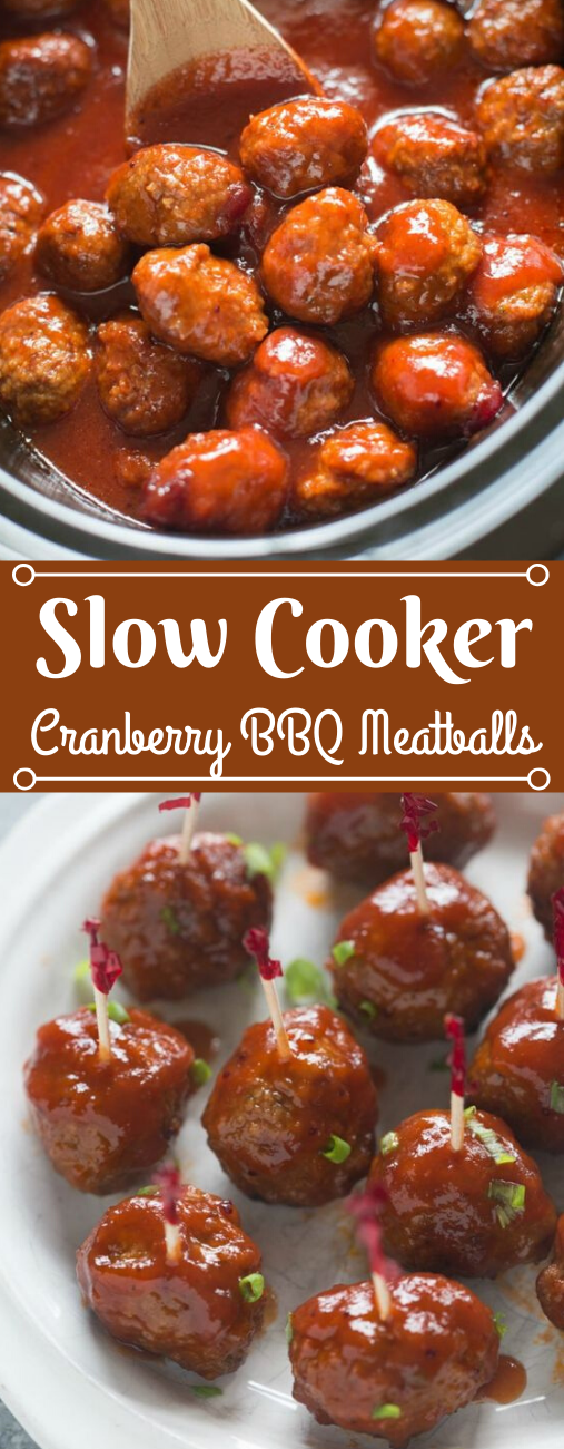 SLOW COOKER CRANBERRY BBQ MEATBALLS #dinner #cooker #bbq #cranberry #familyfood