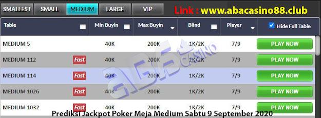 prediksi jackpot poker meja medium sabtu 5 september 2020