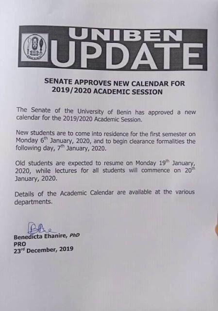 UNIBEN Resumption Date 1st Semester 2019/2020 Session [UPDATED]