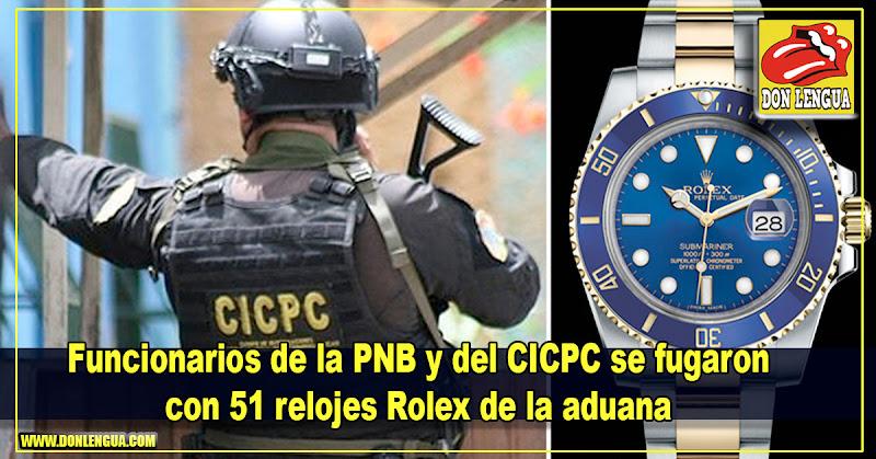 Funcionarios de la PNB y del CICPC se fugaron con 51 relojes Rolex de la aduana