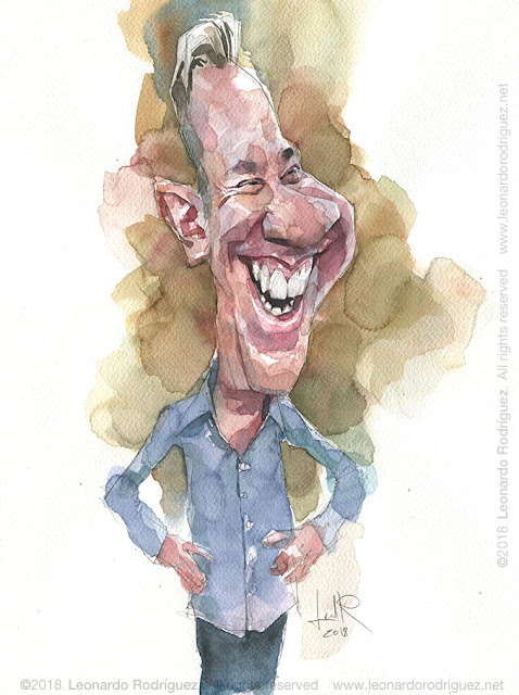 caricature cartoonist - watercolor - tim allen