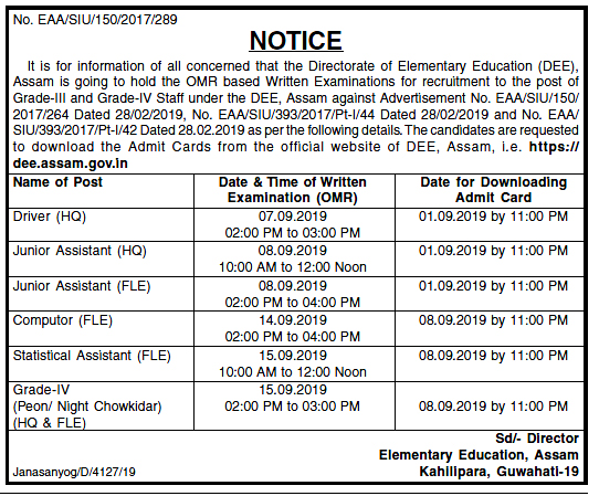 Directorate of Elementary Education (DEE) Assam Download