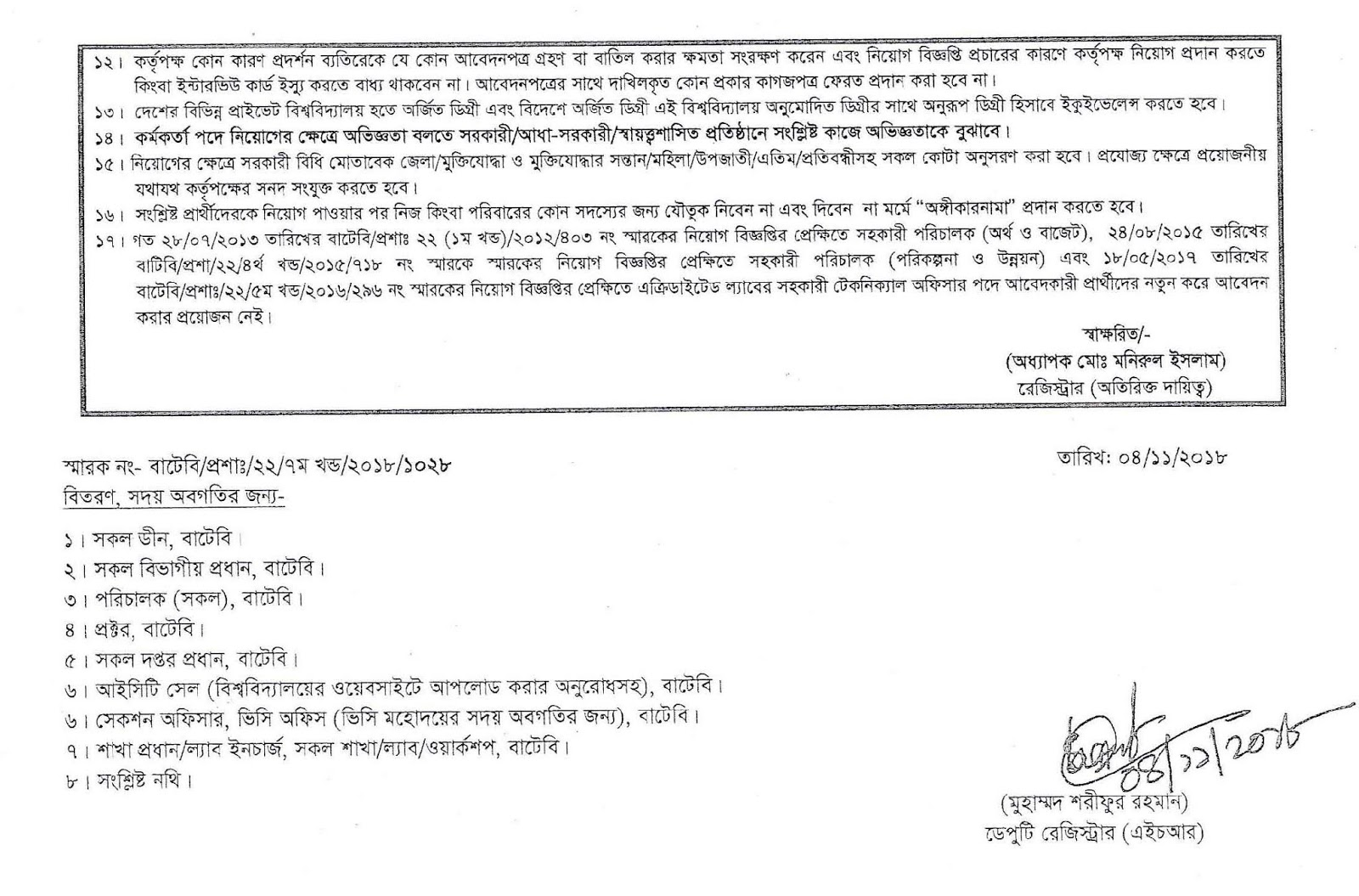 Bangladesh University of Textiles (BUTEX) Job Circular 2018