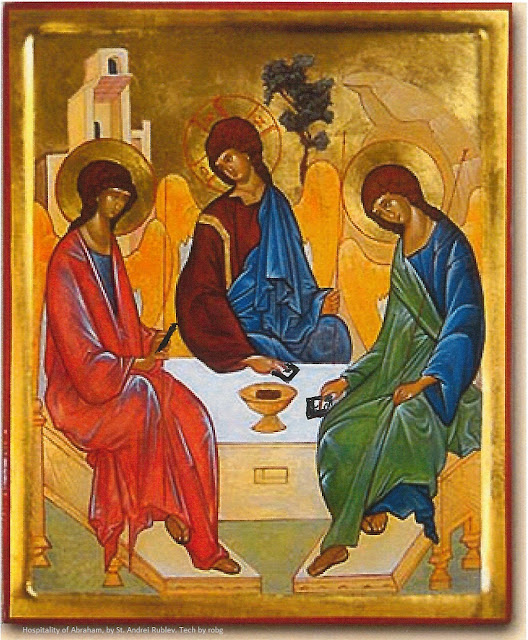 The Hospitality of Abraham, painted in 1411 by St. Andrei Rublev. Shows three angels seated around a table.