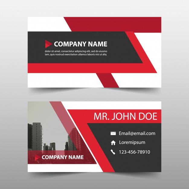 Business Card in Red Color