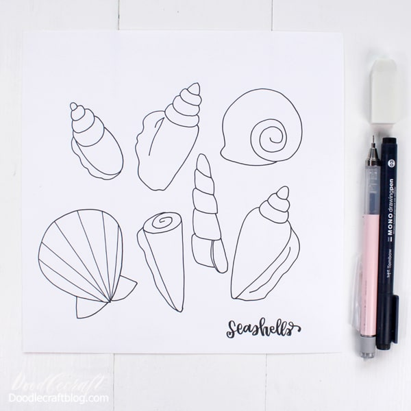How to draw Seashells! These cute seashells are simple line art that can be copied just by referring to mine.