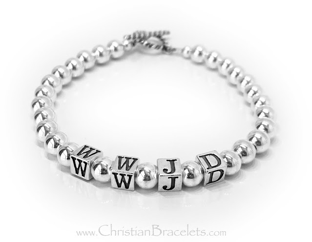 Sterling Silver What Would Jesus Do Bracelet with a Toggle Clasp