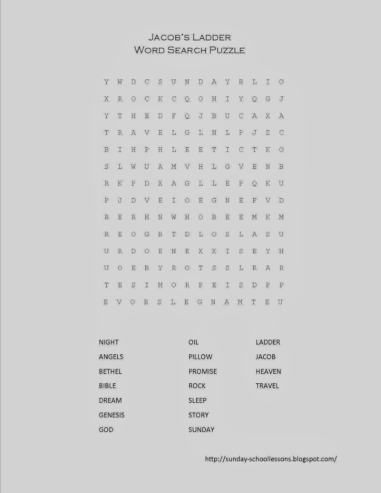 Jacob S Ladder Word Search