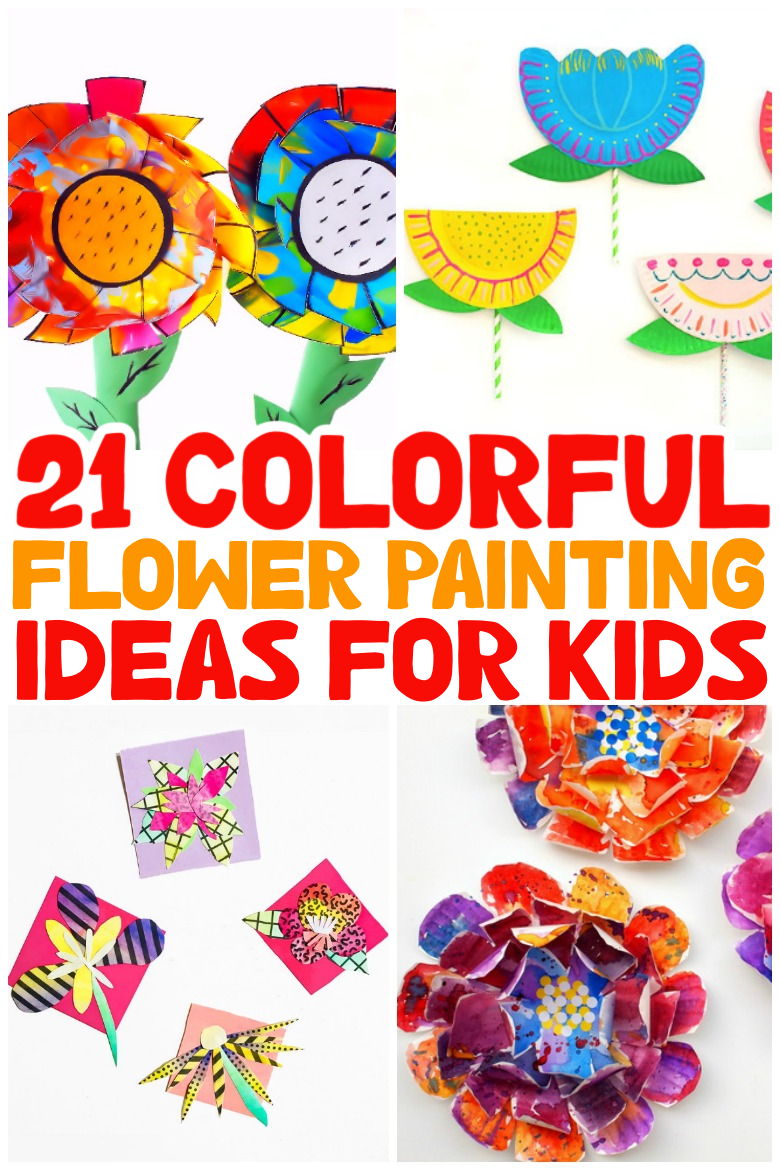 colorful flower painting ideas for kids