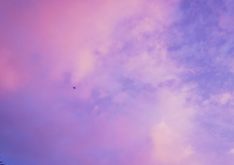 Coloured cloudy sky of blue pink purple white