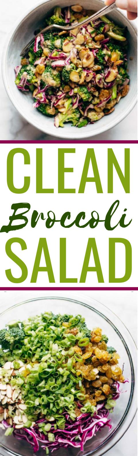 Clean Broccoli Salad with Creamy Almond Dressing #vegan #salad #healthy #glutenfree #sidedish #