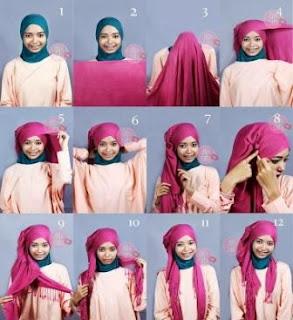 tutorial gambar memakai jilbab modern mudah dan simple
