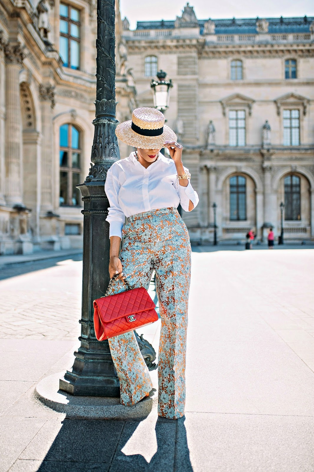 Floral jacquard pants with classic white shirt and boater hat