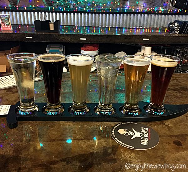 Flight of beer, cider, and wine