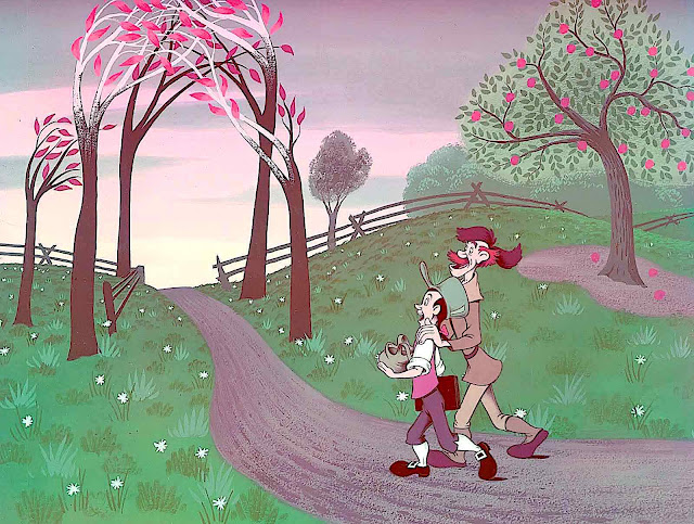 a scene from the Johnny Appleseed segment of the 1948 Disney animation Melody Time