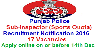 Punjab Police SI (Sports Quota) Recruitment 2016