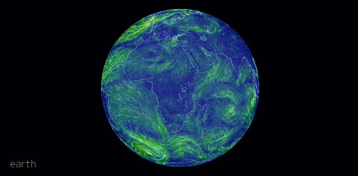 A Magnificent Visualization of Global Weather Conditions, Forecast by Supercomputers - Earth Live Wind Map