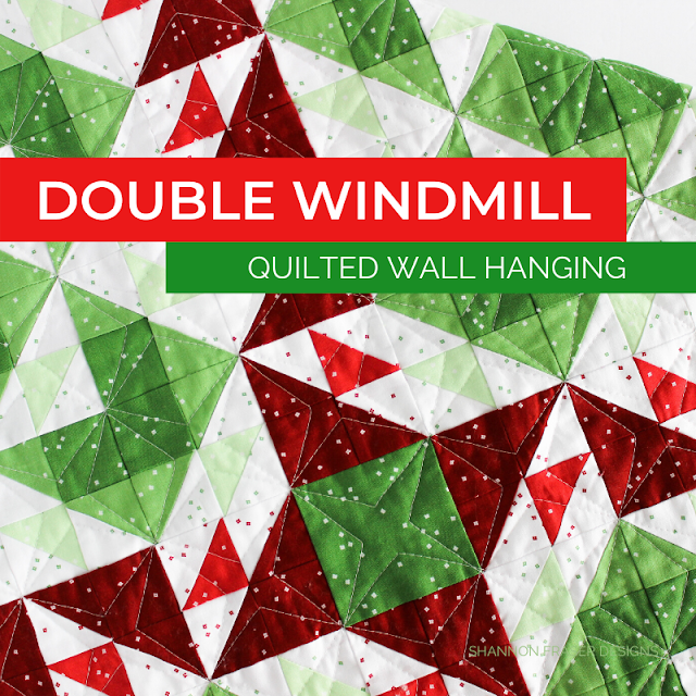Double Windmill Quilted Wall Hanging | Shannon Fraser Designs #wallart #fiberart #miniquilt #quilting