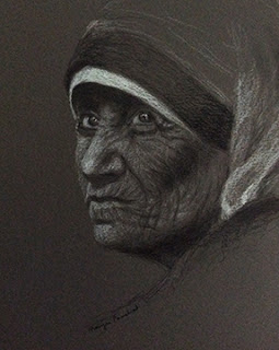 Mother Teresa, portrait study on toned paper using charcoal and white pastel pencil. By Manju Panchal