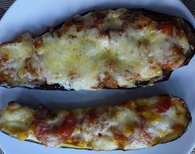 Recipe for Greek stuffed baked aubergine and courgette with sweetcorn