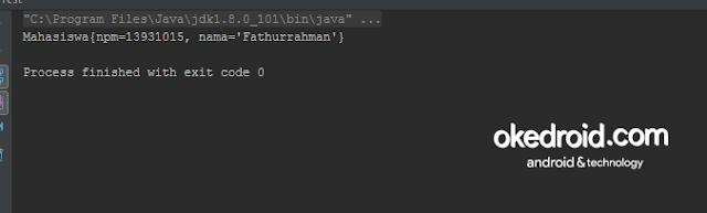 Output Hasil Contoh Program Method Fungsi toString() pada Java