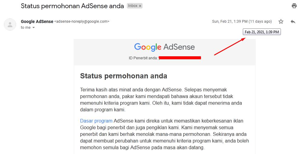 Pengalaman Di Terima Google Adsense Dalam Sebulan Hanya Dengan Template Gratisan