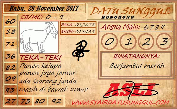 Syair HK Rabu 29-11-2017 - Syair SGP HK