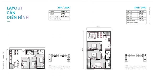 Căn hộ 2 phòng ngủ 2 vệ sinh Mipec 360 Xuân Thủy