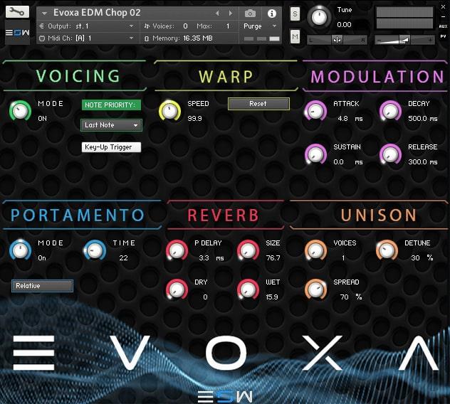 Interface da Library Echo Sound Works - Evoxa (KONTAKT)