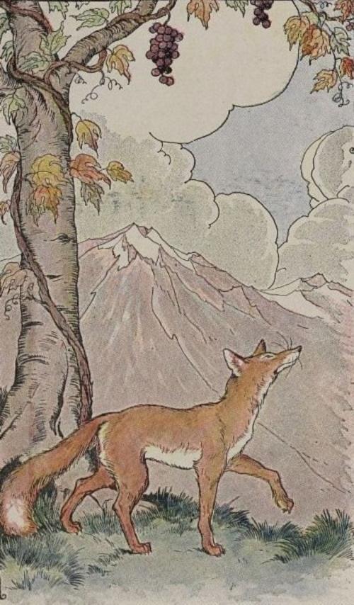 A raposa e as uvas, ilustrada por Milo Winter, em uma antologia de Esopo - 1919. #PraCegoVer
