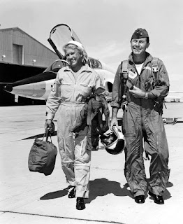 Jackie Cochran and Col. Chuck Yeager, Edwards Air Force Base, 1962