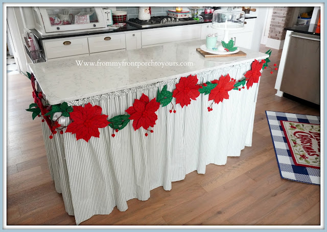 Cottage -Farmhouse- Christmas- Kitchen -Tour-Felt-Garland-Skirted-Kitchen-Island-Diy-From My Front Porch To Yours