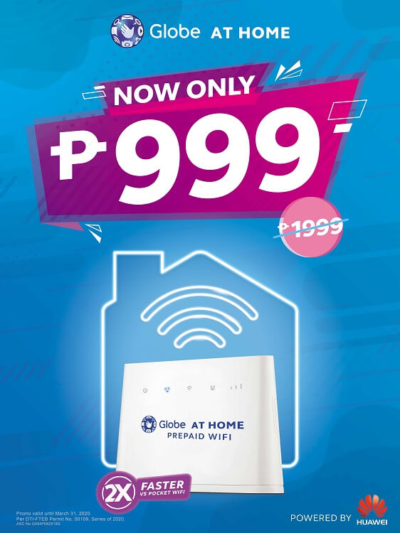 Globe At Home Prepaid WiFi Now Only Php999; Globe Streamwatch Xtreme Now Only Php1,999