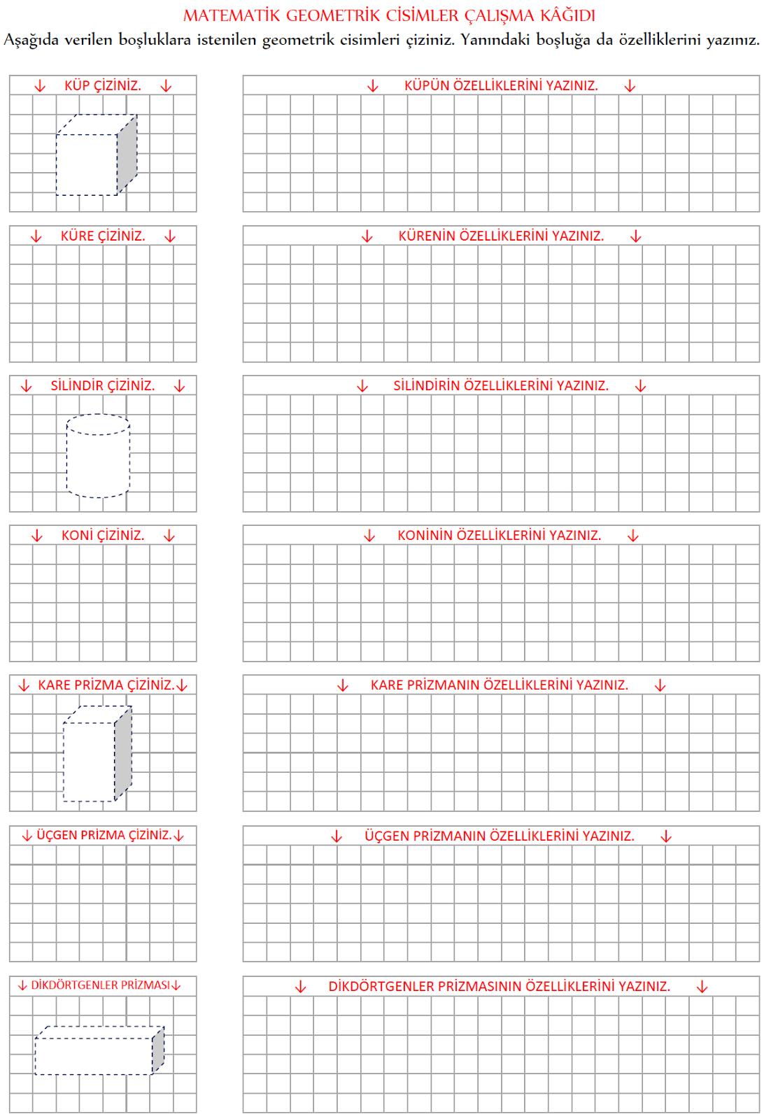 3 Sınıf Geometrik Cisimler çalışma Kağıdı Etkinliği Eğitim