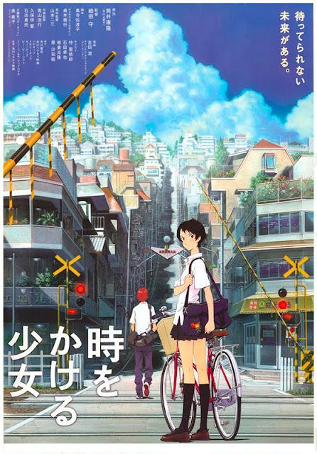 Cartel japonés de la película de animación japonesa La chica que saltaba a través del tiempo