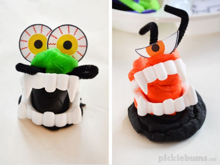 playdough monsters with free printable accessories