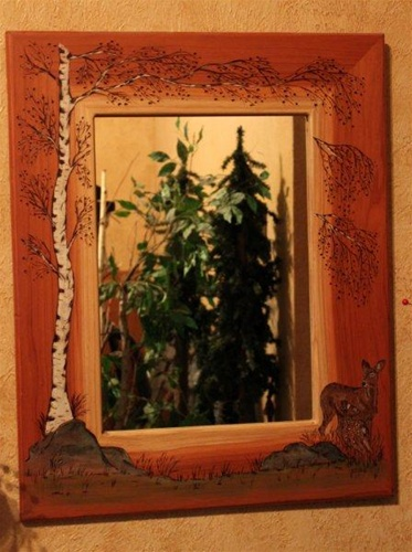 Black Bear Rustic Decor Striking Wood Burned Mirrors Are