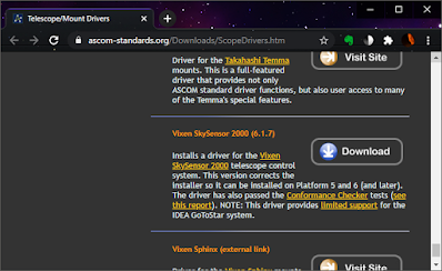 updated text on ASCOM mount driver page