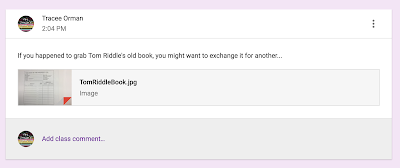 Example of an announcement in Google Classroom™  www.traceeorman.com
