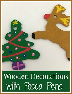 Posca pens for decorating wooden Christmas decorations