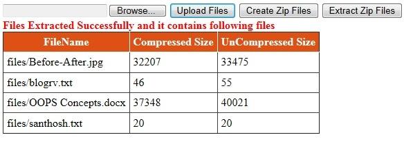 Extract Unzip Files in Zip Folder in Asp net using C#, VB