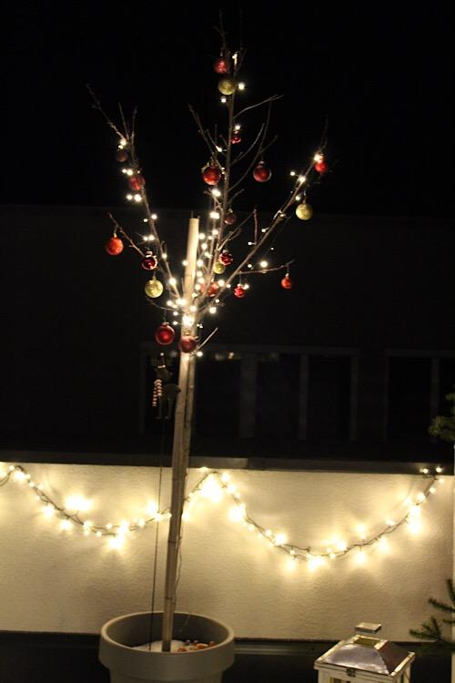 Obstbaum im Weihnachtslook