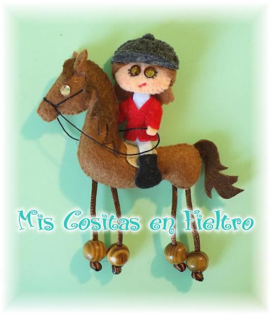 broche, fieltro, feltro, felt, amazona, amazoa, caballo, cabalo, horse
