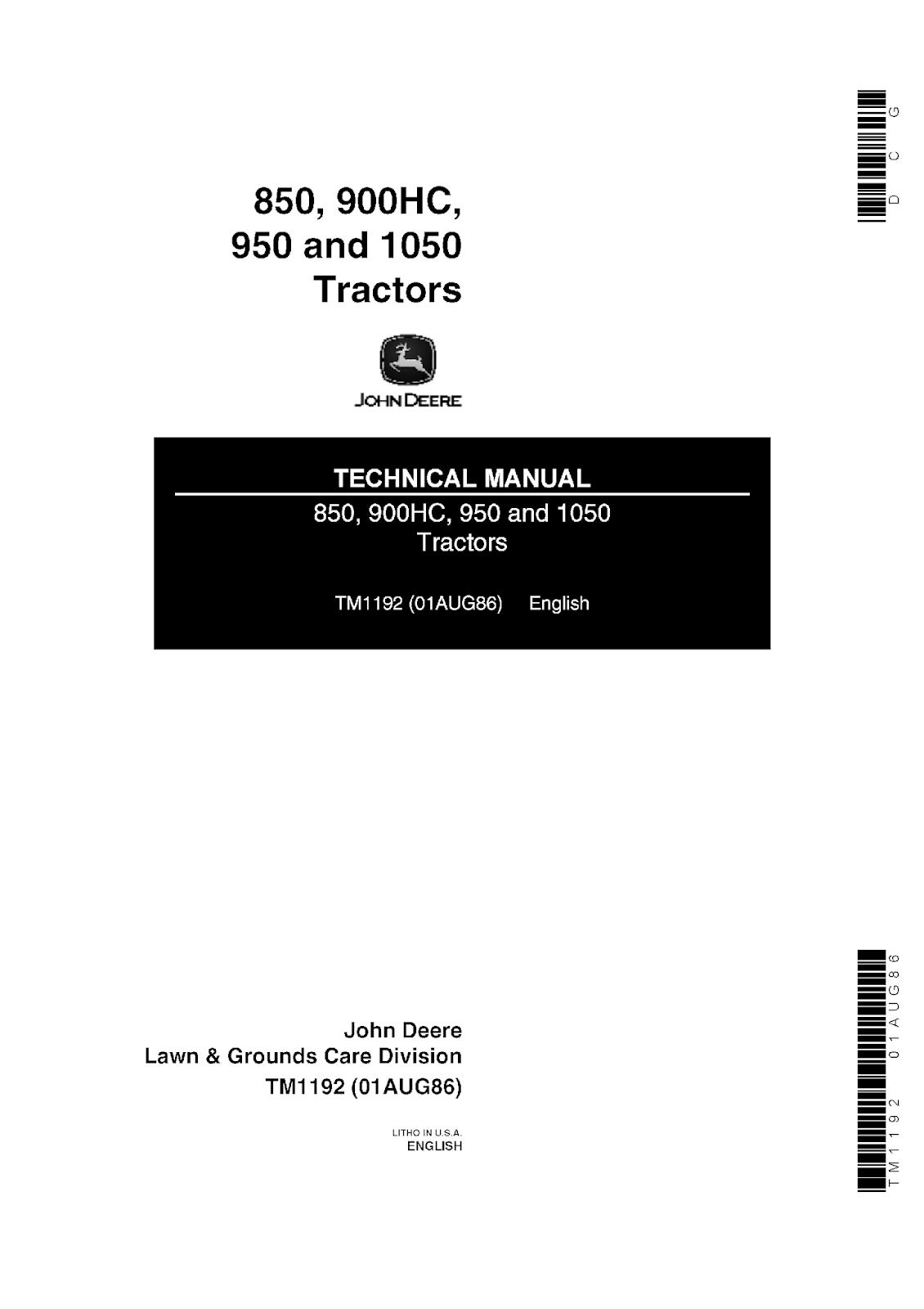 John Deere 850 900HC 950 1050 Tractors Technical Repair