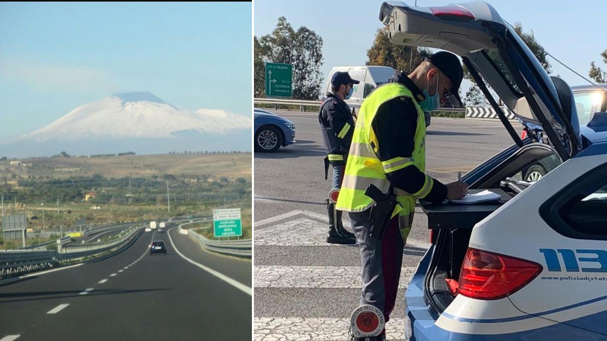 Tangenziale di Catania ritiro patenti furbetti corsia di emergenza Polizia Stradale